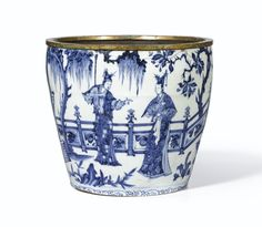 A Brilliantly Painted and Extremely Rare Blue and White Narrative Fragment of a Meiping, Yuan Dynasty