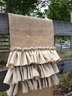 Burlap Table Runner  With 3 Muslin Ruffles by MimiAndMe2 on Etsy, $45.00