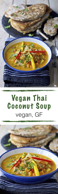 This Vegan Thai Coconut Soup comes with an easy Naan bread recipe. Both recipes are #vegan and #glutenfree. Mango and coconut give this soup a tropical twist while quinoa and lentils add protein and heartiness.