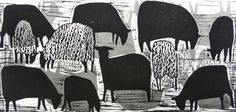 'Flock' by English artist Hannah Hann (b.1963). Linocut. Uploaded to Pinterest by the artist