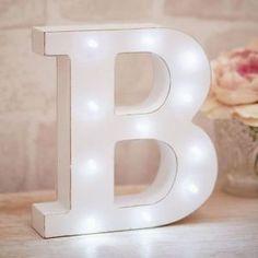 Bloque-De-Madera-Vintage-Blanco-Grande-Freestanding-letras-del-alfabeto-LED-Luz