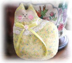 Cat Pillow Doll Cloth Doll 7 inch Cat YELLOW Primitive Soft Sculpture Handmade CharlotteStyle Decorative Folk Art