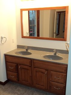Double Bowl Vanity in Maple with Colonial Cherry Finish and Steel Gray Counter tops (12-51)