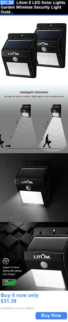farm and garden: Litom 8 Led Solar Lights Garden Wireless Security Light Outdoor Solar Motion New BUY IT NOW ONLY: $31.39
