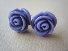 Mini Cupcake Rose Earrings  Lavender  Jewelry by FiveEtsyJewelry, $5.00