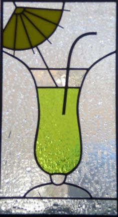 stained glass cocktail panel using copper tubing for straw