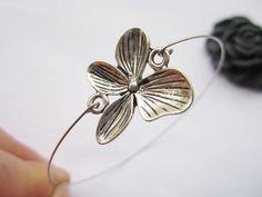 braceletantique silver butterfly flower pendant & by lightenme, $1.99