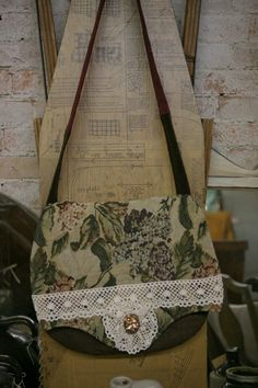 Hand Sewn Tapestry and Brown Handbag by VintageGardensKS on Etsy