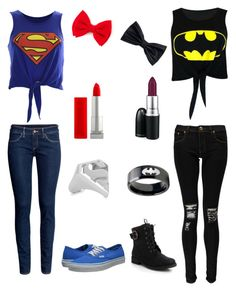 Superman vs Batman by grace181918 on Polyvore featuring polyvore, fashion, style, Boohoo, H&M, Vans, Noir Jewelry, Maybelline and MAC Cosmetics