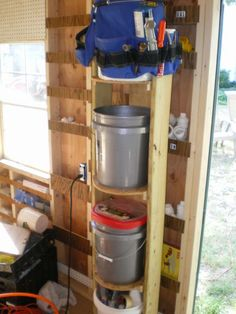 5 gal bucket storage system based on specific job purpose ie carpentry, electrical, plumbing, masonry etc.