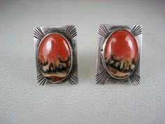 OLD NAVAJO STERLING SILVER & RED BLACK PETRIFIED WOOD CUFF LINKS
