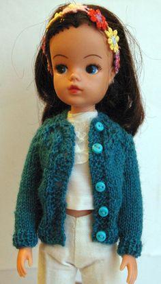 Turquoise Sindy cardigan lacy yoke DOLLS Jacket Tammy Tressy Barbie Tilda Susi