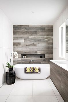Kronos Ceramiche porcelain tile in Talco and Woodside timber-look porcelain tile in Kauri, easybath.com.au; thedeckingtiles.com.au