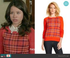 Mariana's red plaid sweater on The Fosters.  Outfit Details: https://wornontv.net/56259/ #TheFosters
