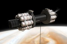 Obtaining the exotic fuels needed for interstellar flight is a major challenge %u2013 here a scheme is shown where a spacecraft in low orbit around Jupiter lowers an extremely long tube into the atmosphere, sucking up and processing gases.