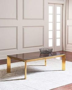 Bradshaw Brushed Brass Coffee Table, Brown/Gold by Interlude Home at Horchow. Small Bedroom Furniture, Dream Furniture, Home Decor Furniture, Table Furniture, Furniture Making, Home Furnishings, Metal Furniture, Coffee Table Rectangle, Brass Coffee Table
