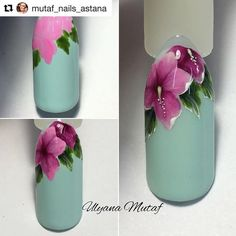 uñas verde menta flores a mano alzada color rosa
