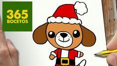 COMO DIBUJAR UN PERRO PARA NAVIDAD PASO A PASO: Dibujos kawaii navideños...