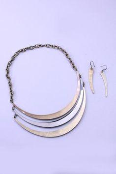 Gold Pewter Antiqued High Polish Crescent Necklace Set