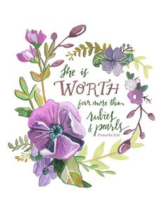 Proverbs 31 Floral typography illustration by Makewells on Etsy