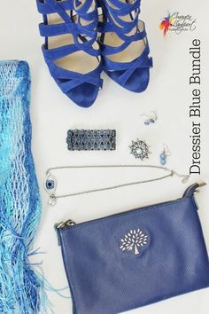 """Dressier Blue accessory """"beauty bundle"""" that can be worn together to make a neutral outfit more exciting, or even providing some color contrast with the colored garments in your wardrobe. Inside Out Style, Simple Wardrobe, Neutral Outfit, Capsule Wardrobe, Plus Size Fashion, Classic Style, What To Wear, Fashion Beauty, Fashion Accessories"""