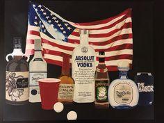 American flag vodka alcohol canvas art beer pong