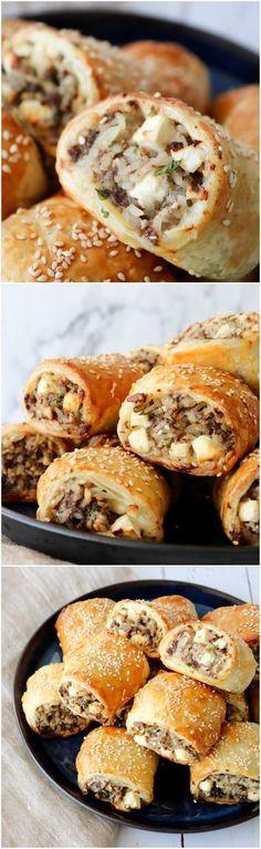 Græsk Farsbrøds Hapsere. De er himmelske! Fyldt med masser af feta og oksekød og en snack, som alle vil kunne lide. Super børnevenlig snack. De kan også nydes i madpakken eller til aftensmaden med en god salat til.