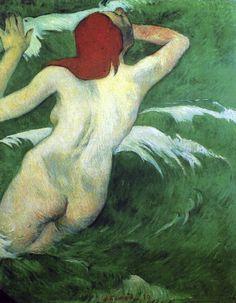 Paul Gauguin - Post Impressionism - Dans les vagues - Into the waves - 1889