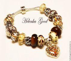 Купить Жёлто-коричневый Браслет Пандора 22 - коричневый, подарок, подарок на 8 марта
