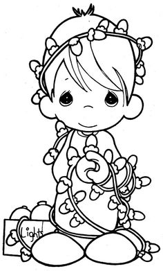 Precious moments with christmas lights - precious moments coloring pages | Coloring Pages