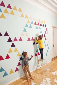 Design your own wallpaper or murals. Stencils and tape. Pretty cool designs on here. Brit + Co http://www.znak-life.com