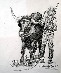 Cow Town lad Higher Brixham by artist Peter Archer. Archer, Cow, Moose Art, Mary, Artist, Animals, Sterling Archer, Animales, Animaux