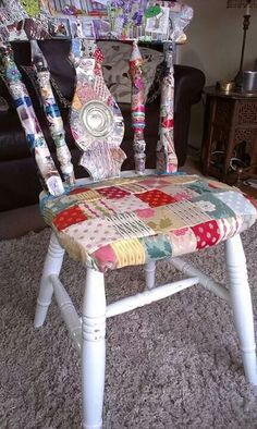Patchwork/decoupage and paint to upgrade an old chair