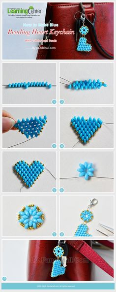 How to Make Blue Beading Heart Keychain with 2-Hole Seed Beads from LC.Pandahall.com