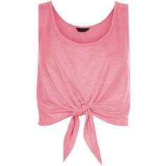 New Look Pink Tie Front Vest (48 MXN) ❤ liked on Polyvore featuring tops, shirts, crop tops, tank tops and bright pink