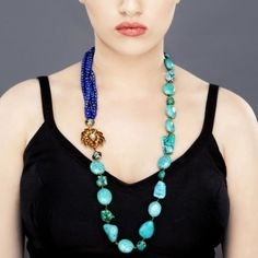 Neck Line with Sapphire Beads and Kundan Stones,1
