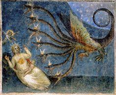 La donna vestita di sole e il drago che tenta di divorarne il bambino, una delle scene dell'Apocalisse affrescata da Giusto de' Menabuoi nell'abside del Battistero di Padova [© Archivi Alinari, Firenze]