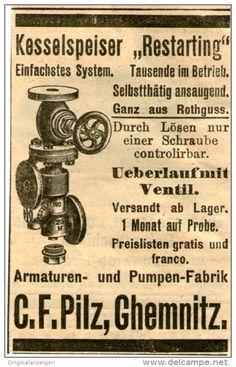 Original-Werbung/ Anzeige 1903 - KESSELSTARTER RESTARTING / PILZ CHEMNITZ - ca 45 x 75 mm