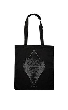 Tote Cotton Bag, Canvas Shopper, Shopping bag, Black Mountain and Lake