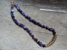 Amethist necklace Koristeellinen metalliputki - Helmien talo