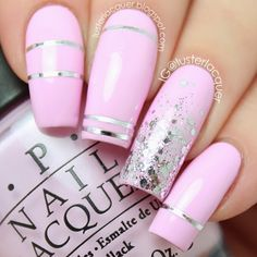 Silver striping tape over light pink skittle mani with silver glitter gradient accent nail!!!♥