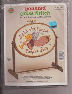 NeedleMagic Counted Cross Stitch Kit 1208 Angels Sing Hoop & Display Stand #NeedleMagicInc #Display