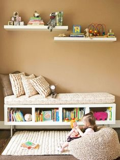 Ikea hack -  sideways bookshelf to daybed