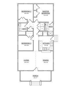 Beautiful Craftsman Exterior Floor Plan   Main Floor Plan