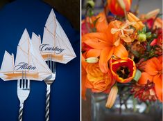 This gorgeous orange and blue southern rehearsal dinner was sent to us by Ivy Robinson and is full of the pantone color of the year! Orange Party, Blue Party, Rehearsal Dinner Inspiration, Blue Orange Weddings, Wedding Decorations, Table Decorations, Wedding Ideas, Seating Cards, Name Cards