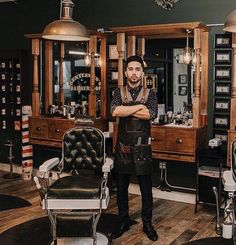 Great Men's Hairstyles And Haircuts! BuyRite Beauty Salon Equipment Barber Chair s Styling Stations Barbershop Interior Design Ideas Decor Vintage Modern Rustic Barber Shop Interior, Barber Shop Decor, Hair Salon Interior, Cool Hairstyles For Men, Men's Hairstyles, Village Barber, Best Barber Shop, Barber Apron, Salon Stations