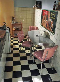 Bel Air Half Rectangular Table - 151 x 60 Diner Table, Retro Table, Shabby Chic Kitchen, Vintage Kitchen, 1950s Kitchen, Bel Air, Retro Pink Kitchens, Retro Interior Design, 1950s Decor