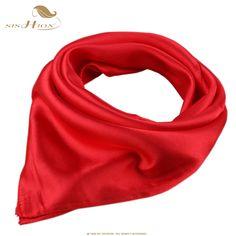 2017 Silk Fashion Scarf Square Foulard Women Satin Soft echarpes foulards femme Red Work Office Scarves Retro Vintage SD0005 #Affiliate