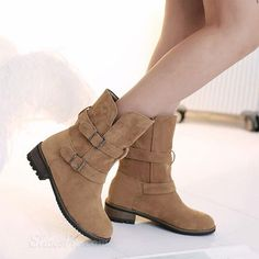 cool Shoespie Nubuck Buckles Flat Boots