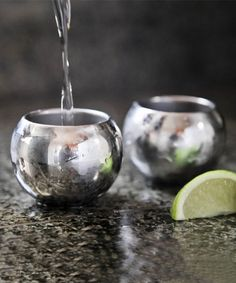 Such unique shot glasses! Stainless Steel Shot Glass Sphere - Set of Two on #zulily today by Sparq Home